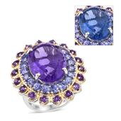 Color Change Fluorite, Tanzanite, Amethyst 14K YG and Platinum Over Sterling Silver Ring (Size 7.0) TGW 22.940 cts.