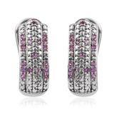 Madagascar Pink Sapphire Platinum Over Sterling Silver Omega Clip Earrings TGW 0.60 cts.