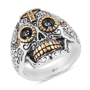 Halloween ION Plated Black, YG and Stainless Steel Skull Men's Ring (Size 10.0)