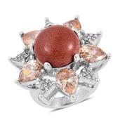 Red Goldstone, Simulated Champagne Diamond, Austrian Crystal Stainless Steel Ring (Size 7.0) TGW 15.500 cts.