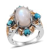 Sri Lankan Rainbow Moonstone, Arizona Sleeping Beauty Turquoise 14K YG and Platinum Over Sterling Silver Openwork Ring (Size 7.0) TGW 9.180 cts.