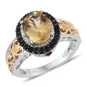 Yellow Scapolite, Santa Ana Medeira Citrine, Thai Black Spinel 14K YG and Platinum Over Sterling Silver Openwork Ring (Size 6.0) TGW 3.75 cts.
