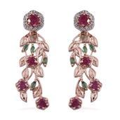 Royal Jaipur Niassa Ruby, Kagem Zambian Emerld, Ruby 14K YG Over Sterling Silver Dangle Earrings TGW 4.860 Cts.