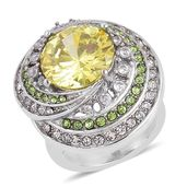 Simulated Yellow and White Diamond, Austrian Crystal Stainless Steel Ring (Size 10.0) TGW 6.50 cts.