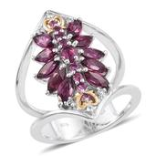 Purple Garnet, White Topaz 14K YG and Platinum Over Sterling Silver Open Double Band Ring (Size 10.0) TGW 3.710 cts.