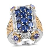 Himalayan Kyanite, Tanzanite 14K YG and Platinum Over Sterling Silver Openwork Ring (Size 5.0) TGW 4.670 cts.