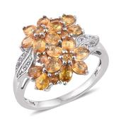 Yellow Sapphire, White Topaz Platinum Over Sterling Silver Floral Ring (Size 10.0) TGW 4.020 cts.