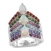 Ethiopian Welo Opal, Multi Gemstone Platinum Over Sterling Silver Ring (Size 5.0) TGW 3.70 cts.