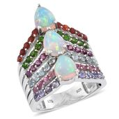 Ethiopian Welo Opal, Multi Gemstone Platinum Over Sterling Silver Ring (Size 7.0) TGW 4.42 cts.