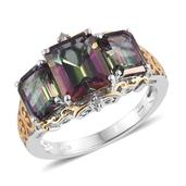 Northern Lights Mystic Topaz, Diamond Accent 14K YG and Platinum Over Sterling Silver Ring (Size 7.0) TDiaWt 0.02 cts, TGW 8.070 cts.