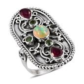 Artisan Crafted Ethiopian Welo Opal, Ruby, Russian Diopside Sterling Silver Elongated Engraved Ring (Size 7.0) TGW 3.36 cts.