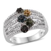 Multi Color Diamond (IR) Platinum Over Sterling Silver Openwork Ring (Size 8.0) TDiaWt 0.76 cts, TGW 0.755 cts.