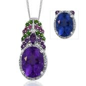 Color Change Fluorite, Multi Gemstone Platinum Over Sterling Silver Pendant With Chain (20 in) TGW 7.900 Cts.