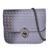 J Francis - Gray Faux Leather Crossbody Bag (6.7x2.4x5.6 in)