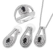 Black Sapphire Stainless Steel Split Ring (Size 6) Earrings, and Pendant With Chain (20 in) TGW 2.160 cts.