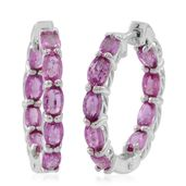 Madagascar Pink Sapphire Sterling Silver Inside Out Huggie Hoop Earrings TGW 4.60 cts.