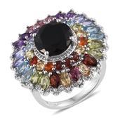 Australian Black Tourmaline, Multi Gemstone Platinum Over Sterling Silver Ring (Size 10.0) TGW 11.38 cts.