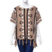 J Francis - Brown 100% Acrylic Tribal Winter Poncho with Tassel (30x22 in)