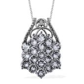 Stainless Steel Pendant With Chain (20 in) Made with SWAROVSKI White Crystal TGW 8.2050 Cts.