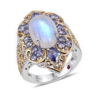 Royal Jaipur Sri Lankan Rainbow Moonstone, Tanzanite, Ruby Signature 14K YG and Platinum Over Sterling Silver Ring (Size 6.0) TGW 10.615 cts.