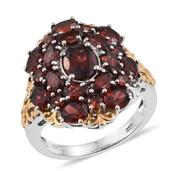Mozambique Garnet 14K YG and Platinum Over Sterling Silver Openwork Cluster Ring (Size 6.0) TGW 7.870 cts.