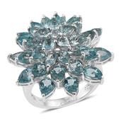 Madagascar Paraiba Apatite Platinum Over Sterling Silver Statement Ring (Size 5.0) TGW 11.81 cts.