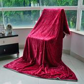 Red Brushed Flannel Reversible Sherpa Throw (50x70 in)