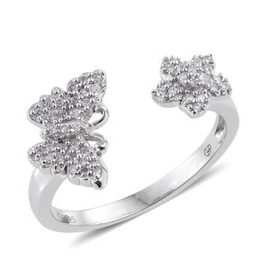 GP Certified Diamond Platinum Over Sterling Silver Butterfly Open Ring (Size 10.0) TDiaWt 0.25 cts, TGW 0.28 cts.