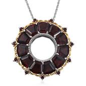 Mozambique Garnet 14K YG and Platinum Over Sterling Silver Circle Pendant With Chain (20 in) TGW 20.90 Cts.