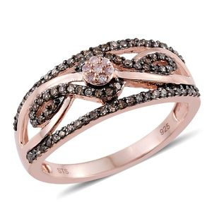 Natural Pink Diamond, Champagne Diamond 14K RG Over Sterling Silver Openwork Ring (Size 8.0) TDiaWt 0.50 cts, TGW 0.50 cts.