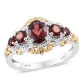 Mozambique Garnet 14K YG and Platinum Over Sterling Silver Ring (Size 9.0) TGW 2.63 cts.