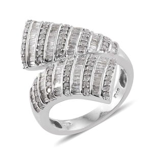 Diamond Platinum Over Sterling Silver Bypass Ring (Size 6.0) TDiaWt 0.98 cts, TGW 0.980 cts.