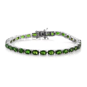 Russian Diopside Platinum Over Sterling Silver Tennis Bracelet (7.50 In) TGW 15.60 cts.