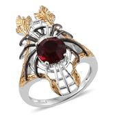 KARIS Collection - ION Plated 18K YG and Platinum Bond Brass Elongated Spider Ring (Size 5.0) Made with SWAROVSKI Red Crystal TGW 1.95 cts.