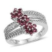 Mahenge Rose Spinel, White Topaz Platinum Over Sterling Silver Bypass Ring (Size 7.0) TGW 1.79 cts.