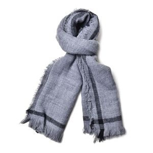 J Francis - Gray 100% Acrylic Scarf with Fringe (78x26 in)