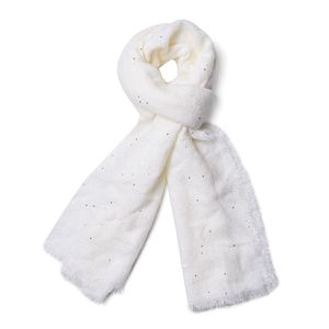J Francis - White 100% Acrylic Scarf with Sequin (75x26 in)