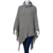 Buyer's Pick J Francis - Black and White Stripes 100% Acrylic Collar Poncho with Fringe