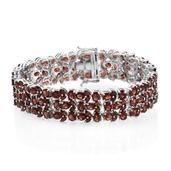Mozambique Garnet Platinum Over Sterling Silver Bracelet (7.50 In) TGW 46.24 cts.