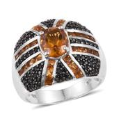 Santa Ana Madeira Citrine, Thai Black Spinel Platinum Over Sterling Silver Ring (Size 10.0) TGW 4.13 cts.