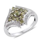 Ambanja Demantoid Garnet, White Topaz Platinum Over Sterling Silver Ring (Size 6.0) TGW 1.900 cts.