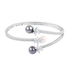 Tahitian Pearl, Freshwater Pearl, White Topaz Sterling Silver Bangle (7.25 in) TGW 17.530 Cts.