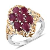 Niassa Ruby 14K YG and Platinum Over Sterling Silver Openwork Ring (Size 6.0) TGW 4.20 cts.