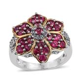 Mahenge Rose Spinel, White Topaz 14K YG and Platinum Over Sterling Silver Floral Ring (Size 8.0) TGW 3.03 cts.