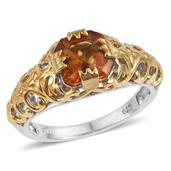Santa Ana Madeira Citrine 14K YG and Platinum Over Sterling Silver Ring (Size 7.0) TGW 2.200 cts.