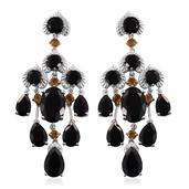 Australian Black Tourmaline, Brazilian Citrine Platinum Over Sterling Silver Chandelier Earrings TGW 41.140 Cts.