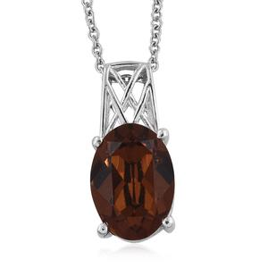 Platinum Over Sterling Silver Pendant With Stainless Steel Chain (20 in) Made with SWAROVSKI Brown Crystal TGW 5.40 cts.