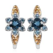 London Blue Topaz, Electric Blue Topaz 14K YG and Platinum Over Sterling Silver J-Hoop Earrings TGW 6.370 Cts.