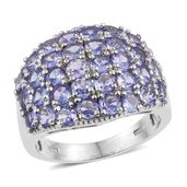 Tanzanite Platinum Over Sterling Silver Cluster Ring (Size 7.0) TGW 5.750 cts.