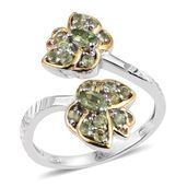 Ambanja Demantoid Garnet 14K YG and Platinum Over Sterling Silver Bypass Ring (Size 7.0) TGW 1.34 cts.